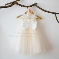 Champagne Tulle & Ivory Lace Flower Girl Dress