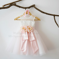 Sequin Lace Blush Pink Tulle Flower Girl Dress with Corsage Detail