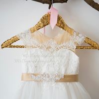 Beaded Lace Tulle Flower Girl Dress With Champagne Sash