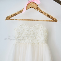 Champagne Tulle Pearl Beaded Flower Girl Junior Bridesmaid Dress