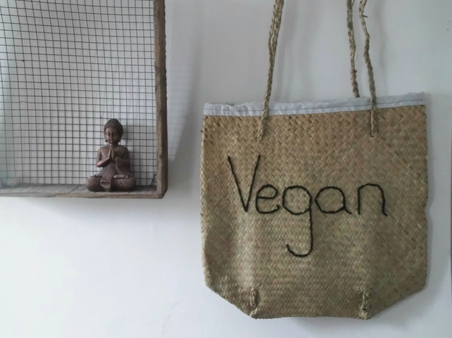 Vegan Straw Tote Bag