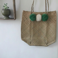 Pom Pom Summer Straw Bag