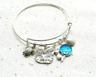 sale dreaming of the sea bangle Mermaid scales bracelet beach turtle sea seaside