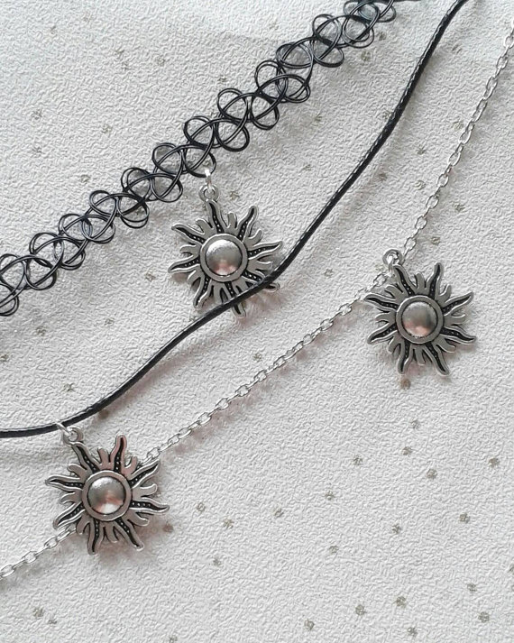 SALE Sun necklace sun choker sunshine summer sunny charm necklace retro
