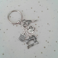 sale sewing keyring crafts bag charm sew silver sewing machine scissors thread