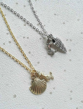 SALE Mermaid necklace seashell necklace scallop shell beach jewelry sea