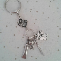 toothbrush toothpaste floss keyring keychain gift dentist hygienist sweet tooth
