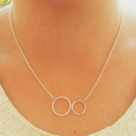 SALE Circle necklace double two interlocking eternity friendship silver plate