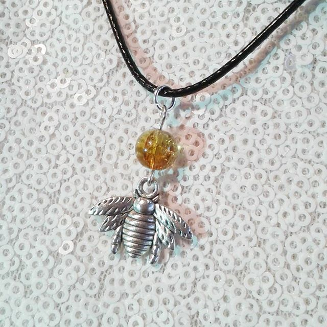 Honey bee necklace honeybee glass amber animal insect cord bumblebee