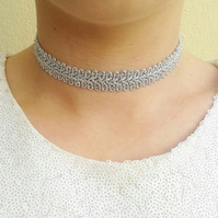 Silver choker metallic chokers necklace gift fashion jewellery