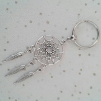 SALE Dream catcher keyring feathers dreamcatcher gift keychain bag charm silver