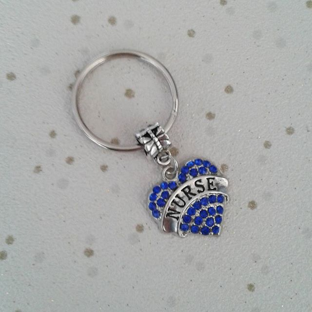 SALE nurse keyring rhinestone heart silver keychain gift medic medical nurses