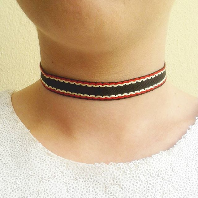 black choker with red and cream necklace cotton choker 18mm wide gifts for her