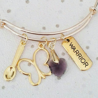 Gold Awareness bangle warrior spoon spoonie bracelet fibromyalgia crystal heart