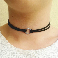 sale circle choker black necklace gifts for her loop chokers double