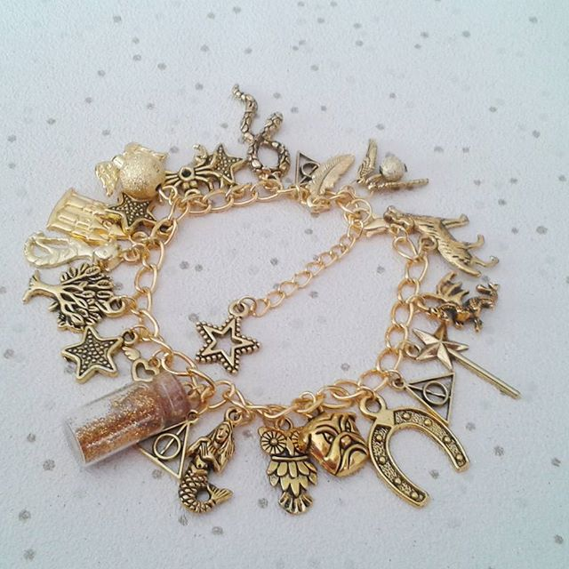 Harry potter charm bracelet inspired themed gift gold potion bottle fully load