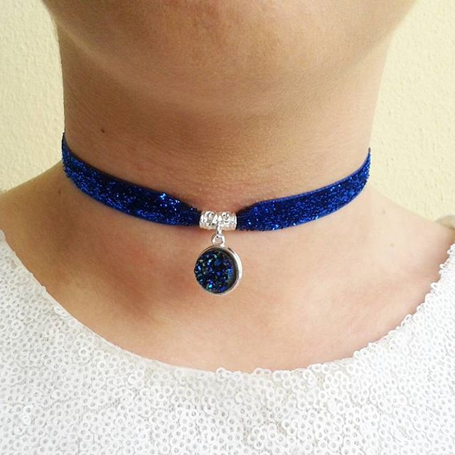 sale faux druzy choker geode crystal necklace blue moon rock gift silver chokers
