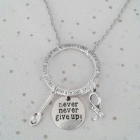 Awareness necklace never never give up spoonie hope ribbon silver fibro cfs