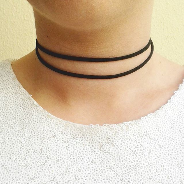 sale Double choker black faux suede choker twin necklace gifts for her