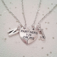 Partners in crime necklace set best friends pair necklaces personailised initial