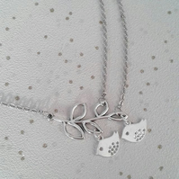 sale Bird necklace branch chicks silver gifts for her