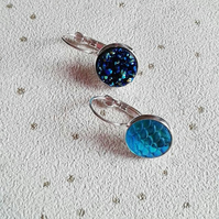 SALE Earring mermaid scale or faux druzy you choose blue silver plate
