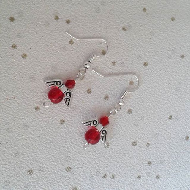 sale Angel earrings fairy earring red dangle gifts for her