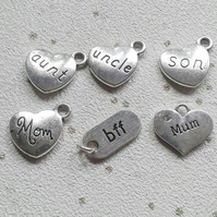 Add on relative charm mum mom uncle son aunt bff silver personalise