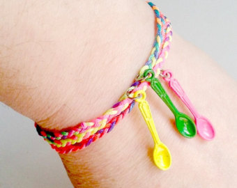 Awareness wrap bracelet neon colours with spoons jewellery cuff bangle