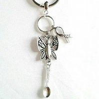 sale awareness keyring with butterfly hop ribbon and spoon spoonie gift