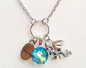fantasy necklace dragon scales mythical animals charm necklace believe