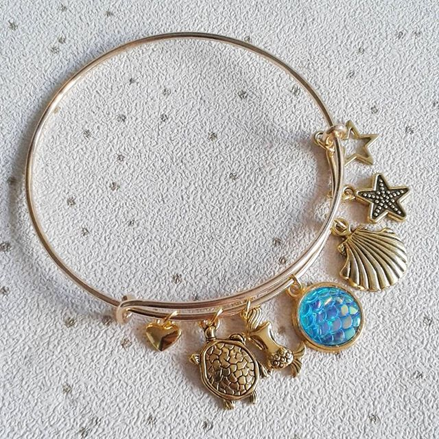 sale mermaid bangle bracelet sealife themed with turtle mermaid scales scallop