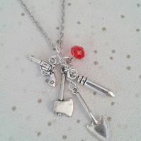 "sale The original ""under the patio"" charm necklace blood zombies walking dead"