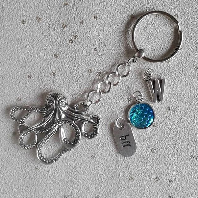 sale Octopus keyring bagcharm sealife sea beach theme keychain