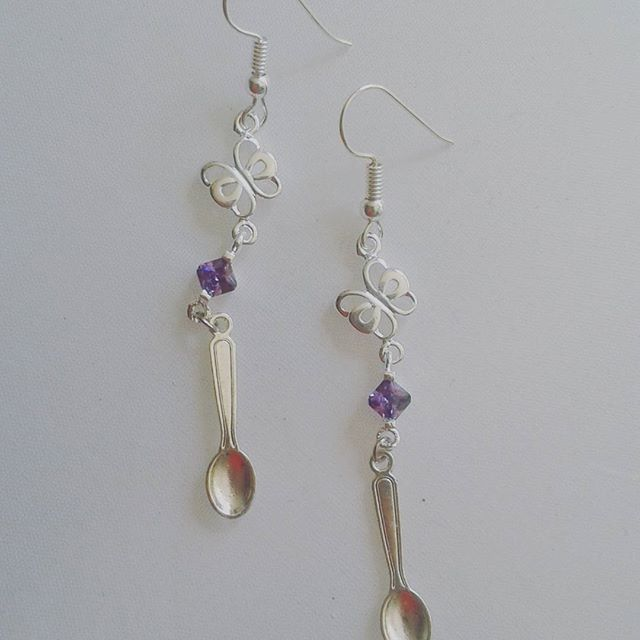 Dangle purple crystal butterfly spoonie earrings awareness spoon gifts dangly