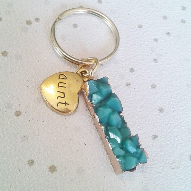 SALE Aunt keyring faux crystal druzy green gold gifts for her auntie