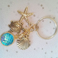 mermaid scales sealife theme gold keyring sea turtle starfish shell