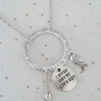 sale Awareness necklace never never give up spoonie hope ribbon silver fibro cfs