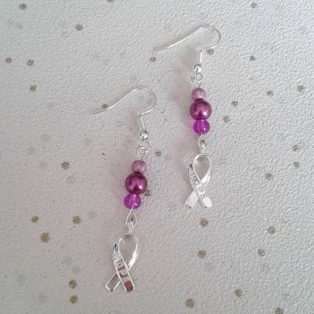 sale Awareness earrings hope ribbon dangle purple fibromyalgia lupus RA spoonie