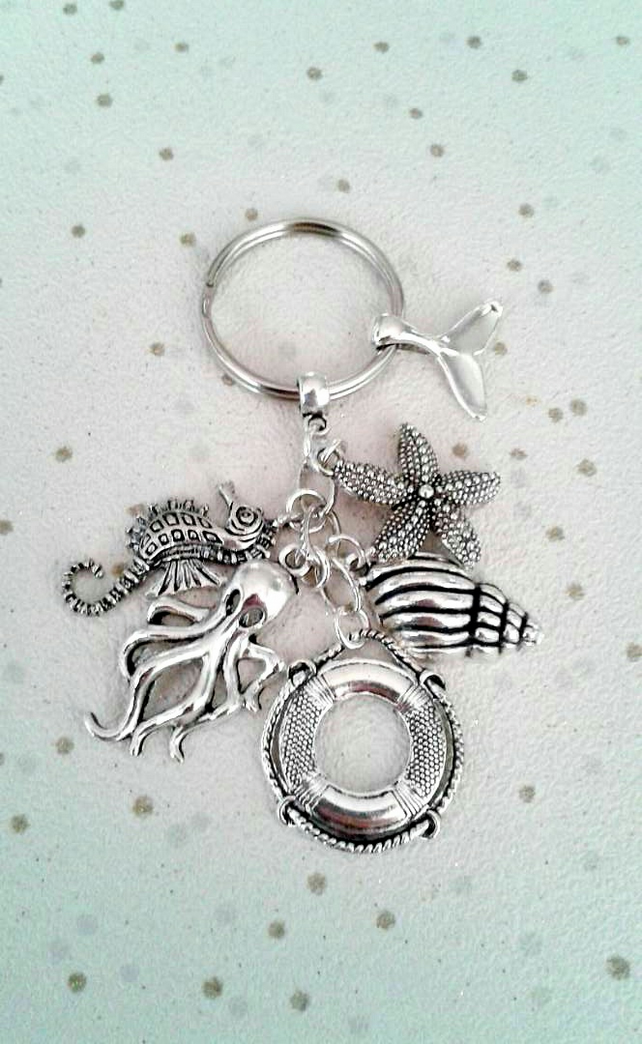 Sealife keyring bag charm octopus starfish life guard keychain seahorse shell