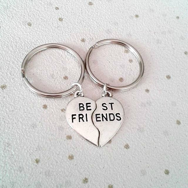 best friends keyring split share keychain bag charm gift for friendship gifts