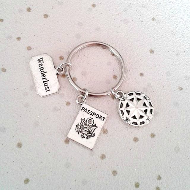 wanderlust keyring travel passport wander lust keychain for traveler bagcharm