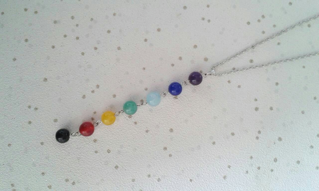 chakra necklace rainbow beads jewellery