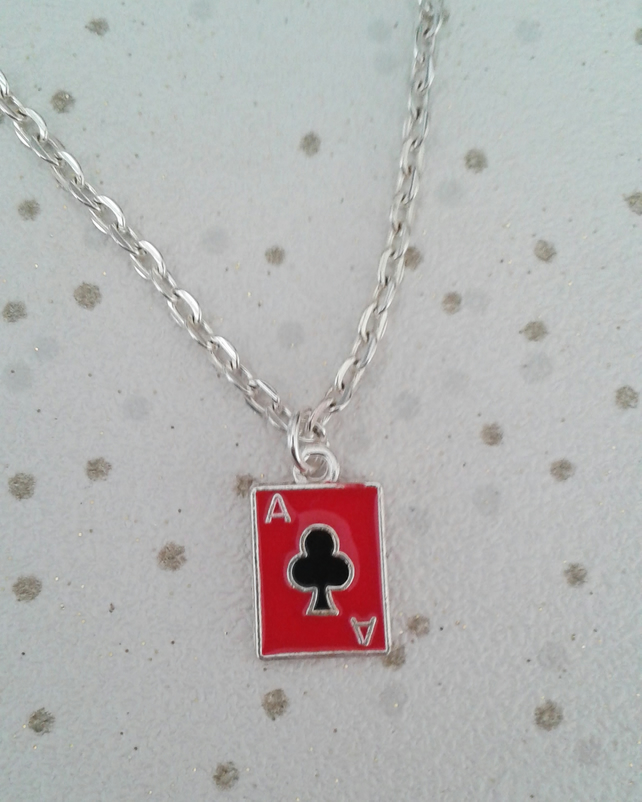 SALE ace card necklace pack of cards red enamel jewellery