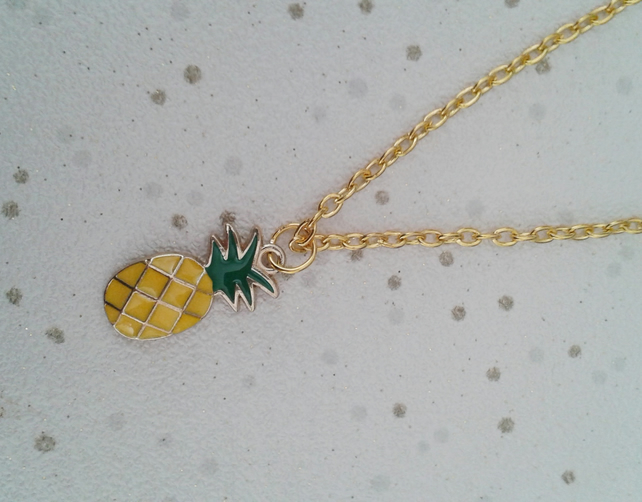 Gold pineapple necklace enamel fruit gifts sale