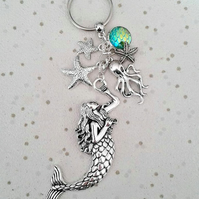 sale Mermaid scales keyring bag charm with starfish octopus silver beach theme