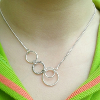 circle necklace affinity interlocking eternity silver gifts for her