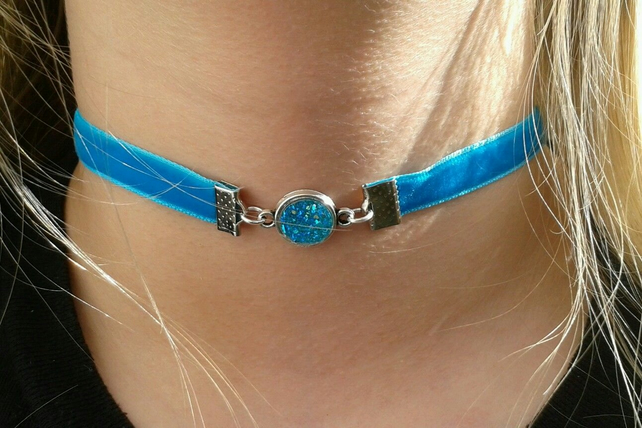 blue druzy choker crystal necklace velvet