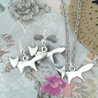 silver fox necklace & earrings set foxes dangle matching gifts