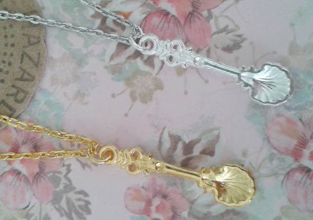Spoon necklace choose gold or silver scallop spoonie gift